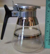 Pitcher / Carafe PYREX Glass 12 oz silver striping Flip lid Black handle VINTAGE