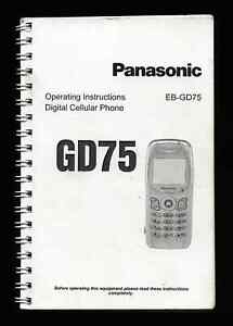 PANASONIC GD75 MOBILE PHONE - Operating Instructions Book USER MANUAL - EB-GD75
