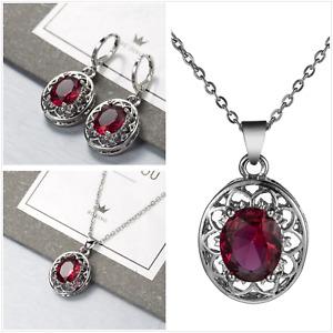 UK Vintage Red Cubic Zirconia Sterling Silver Jewellery Set