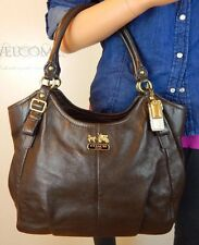 L/N COACH Madison Abigail Brown Soft Leather Shoulder Hand Bag Tote Purse 18612