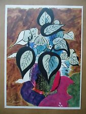 "1955 Vintage Braque Lithograph ""Leaves in Color of Light"" by Mourlot, Flowers"