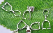 Free shipping 30PCS Bail connector silver plated charm pendant clip 18 KGP