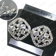 CLIP ON screw BIG CRYSTAL EARRINGS sparkly SQUARE glass rhinestone SILVER PLATED