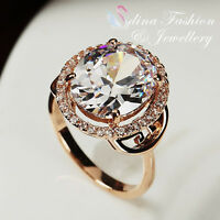 18K Rose Gold Plated Simulated Diamond Large Oval Cut Luxury Halo Ring Jewellery