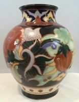 "VTG Asian Vase 12"" Tall Hand Painted Made In Japan 8-1/2 Pounds Signed LOOK!"