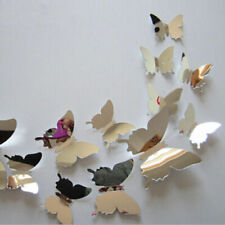 Arrive Mirror Sliver 3D Butterfly Wall Stickers Party Wedding