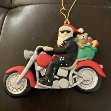 Santa Claus In Leather On Motorcycle Ornament Holiday Christmas