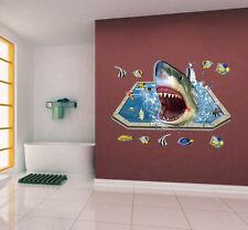 3D Tiburón Pez Extraíble Adhesivo Pared Calcamonías De Vinilo