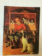 Vintage Embossed Picture - Boy holding rifle with his dogs 7 1/2 x 10""