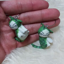 Cute Lovely Funny Smiling Happy Cat Charms 2 cm Ring Dangle Drop Huggie Earrings