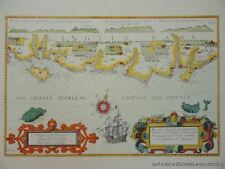 OLD COPY OF ANTIQUE MAP 1700'S SEA COASTS OF ENGLAND ISLE OF WIGHT TO DOVER