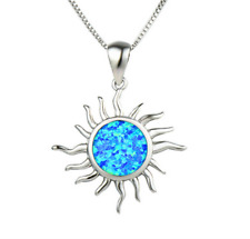 Fashion 925 Silver Jewelry Sun Blue Fire Opal Charm Pendant Necklace Chain NEW ~