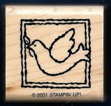 DOVE OLIVE BRANCH FRAMED Bird  RELIGIOUS Bible Stampin' Up! 2001 RUBBER STAMP