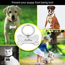 Collar Pet ID Tag Stainless Personalized Cat Puppy Name Contact Pendant Keyring