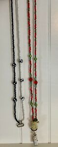 Two ID Lanyards: Christmas with Snowman, and B&W Beaded - magnetic clasps