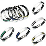 Men's Women's New Stainless Steel Rubber Wristband Bangle Clasp Cuff Bracelet TR