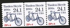 US #2266 24.1c Tandem Bicycle 1890s Transportation MNH,NG P#1 Strip of 3 Stamps