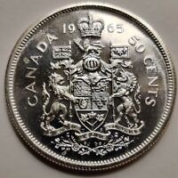 Uncirculated Canada Half Dollar (Elizabeth II) 1965-1966 80% Silver