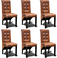 Dining Chair Set 6pcs Backrest Furniture Seat Leather Brown Suede LOOK Kitchen