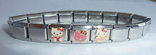 Hello Kitty Italian Charm Bracelet * 3 Classic Charms Stainless Steel pink dress
