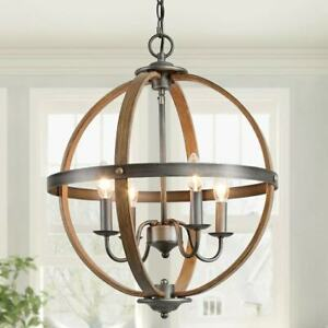 LNC Globe 4-Light Brown with Wood Accents Farmhouse Chandelier