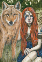 Fantasy Art PRINT Wolf Shaman Woman Red Hair Celtic Nature Animal Kindred