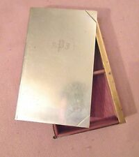 antique nickel plated bronze engraved boom shaped wood cigarette case box holder