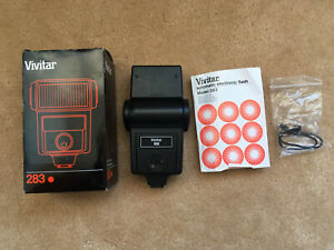 Vivitar 283 Electronic Flash ForSpares And Repairs With Box Manual Shutter Cord.