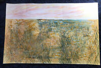 Vintage Large Original Outsider Abstract Surreal Landscape Painting P. Lecourt