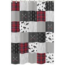 Rustic Grey Black Woodland Plaid Arrow Moose Bathroom Fabric Bath Shower Curtain