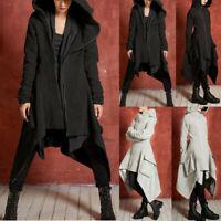 Womens Winter Warm Long Coat Hooded Irregular Trench Jacket Zip Outwear Peacoat