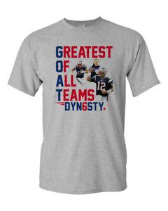 Patriots GOAT Dynasty Custom Men's T-Shirt Greatest Of All Teams Tee Brady New