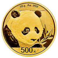 Daily Deal! 2018 China 30 g Gold Panda ¥500 Coin GEM BU Mint Sealed SKU51049