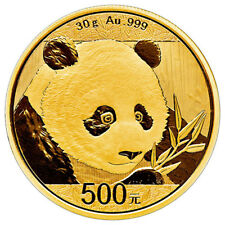 2018 China 30 g Gold Panda ¥500 Coin GEM BU Mint Sealed PRESALE SKU51049