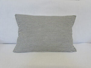 Cushion Cover, Grey, Pale Cream, Stripes, Cotton, Ticking, 50cm x 30cm, Ivory.