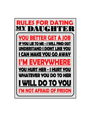 Rules for dating my daughter metal wall plaque sign