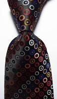 New Classic Dot Black White Red Blue JACQUARD WOVEN 100% Silk Men's Tie Necktie
