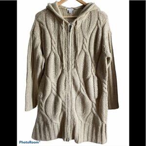 New J. Jill Long Cable Knit Zip Hooded Sweater - size Medium Petite