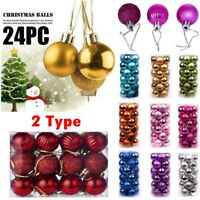 24X Big Christmas Xmas Tree Ball Bauble Party Ornament Hanging Decor 30mm MG