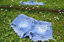 Vtg Ladie Summer Sexy Stretch Denim Hot Pants Distressed Patch Shorts sz XS M34
