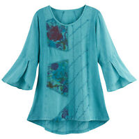Parsley & Sage Women's Lola Tunic - Blue Floral Embroidered Top, High-Low Hem