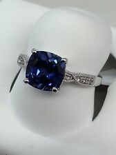 14kt White Gold Cushion Cut Lab-Created Sapphire/White Topaz Ring