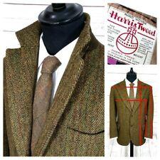 Da Uomo Vintage Harris Tweed 100% lana con motivo spigato COUNTRY Cappotto Giacca Taglia 40s