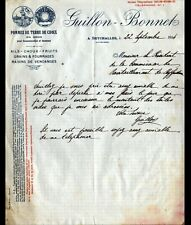"""SEYCHALLES / THIERS (63) FRUITS GRAINS LEGUMES """"GUILLON & BONNET"""" Lettre en 1914"""