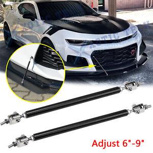 "6""-9"" Adjustable Strut Rod Diffuser Splitter Front Bumper Bars For Chevy Camaro"