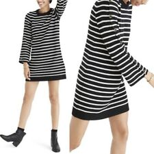 Madewell Stripe Merino Wool Sweater Dress Tunic Button Sleeve Black White Size S