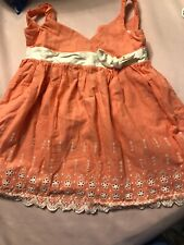 Used Janie & Jack Peach Eyelet Dress 18-24 Mo