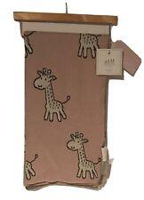 Frolics Kids Collection Throw Blanket Pink Gray Giraffes Reversible Cotton 32x40