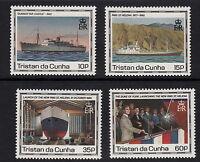 TRISTAN DA CUNHA:1990 Maiden Voyage of St Helena set+m/sheet SG 500-3+MS504 unm