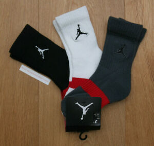 Air Jordan Boy 3 Pr Crew Socks ~ Gray, White, Black & Red ~ 10C-3Y ~ Sock Sz 6-7